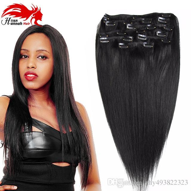 Clip di capelli Hannah brasiliani nelle estensioni dei capelli, clip diritta nera nelle estensioni, 70g, 100g, 140g, 200g completo e spesso 8pcs / set