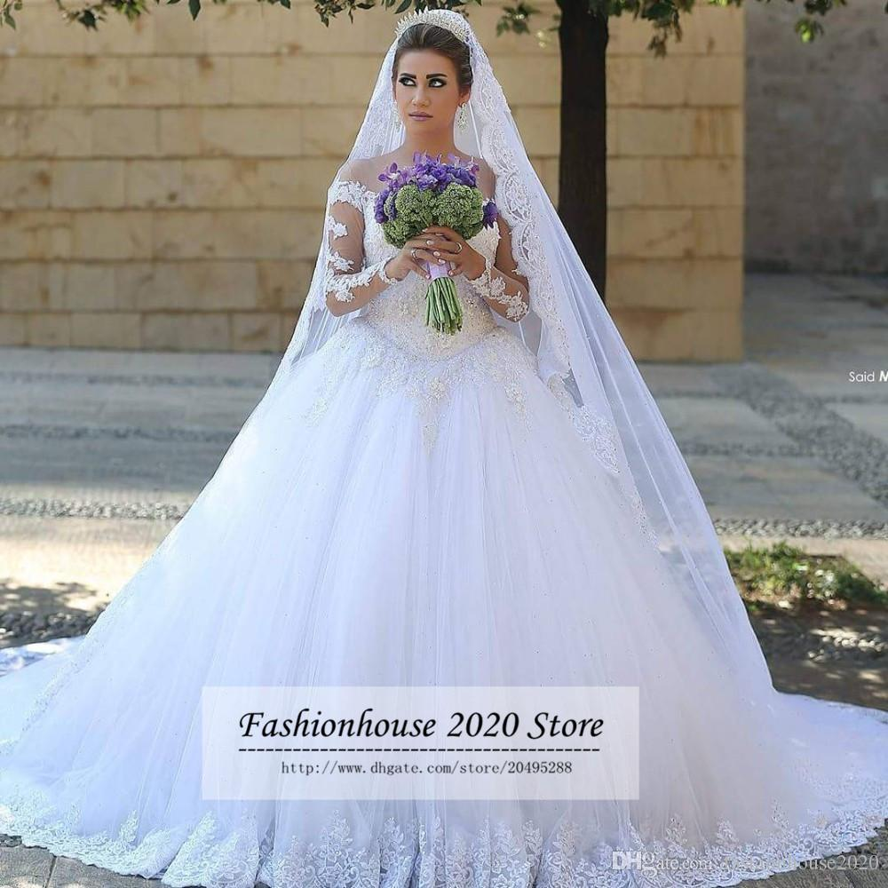 Arabic Style Lace Long Sleeve Wedding Dresses Sheer Illusion Tulle Neck Beaded Applique Long Train Wedding Bridal Gowns Bride Dresses