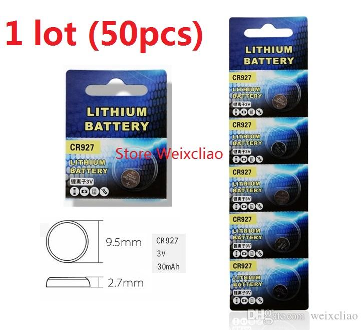 50pcs 1 lot CR927 3V lithium li ion button cell battery CR 927 3 Volt li-ion coin batteries Free Shipping