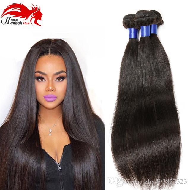 8А малазийский Девы волос Straight 4шт Лот Hannah Компания волос Малазийский Необработанные Человеческие волосы Remy Связки 1B #