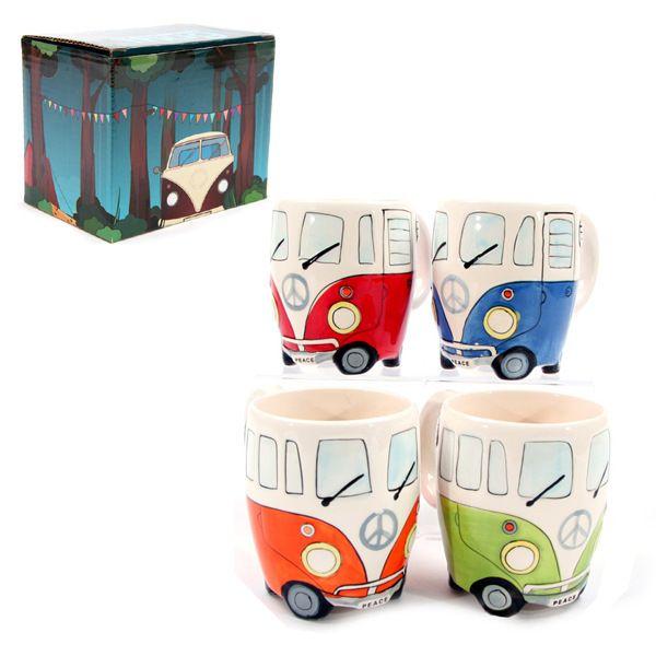 NEW Camper Van Tasse VOLKSWAGEN VW Keramiktassen Puckator Geschenk für Porzellantassen Cartoon-Auto Kinder für Milch, Kaffee, Tee