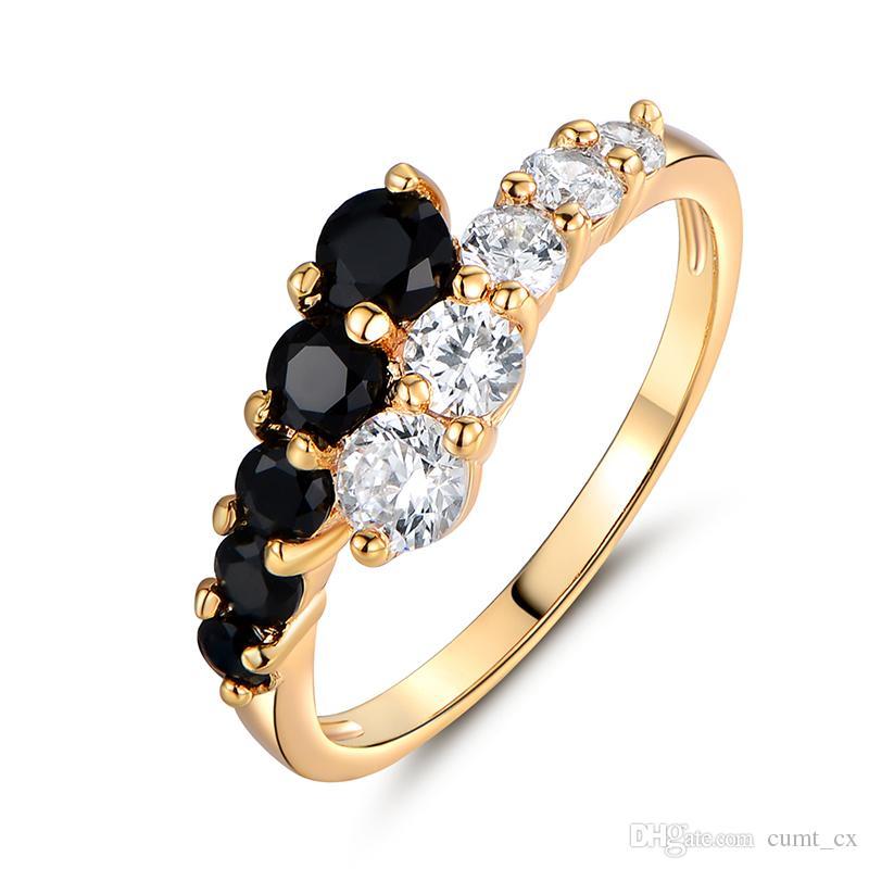 Anéis de Noivado de moda para as mulheres de Ouro-cor Mid Anel Preto Branco Cristal Zirconia CZ Banda Anel de Casamento Anéis de Jóias