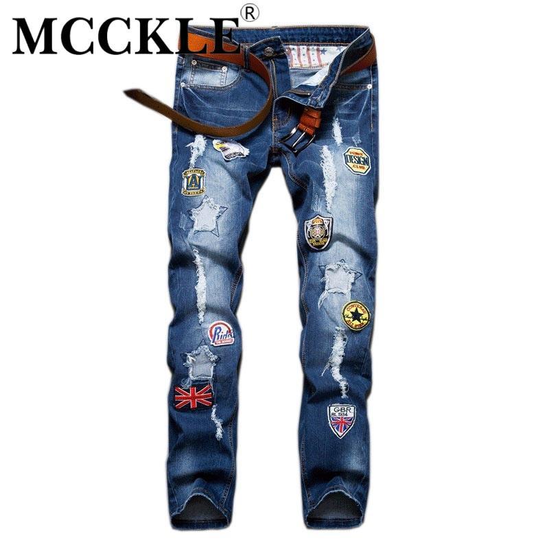 Großhandels- Slim Fit Mens Zerrissene Patch-Jeans-Hosen Designer Distressed Jean-Hose für Männer Straight Blue Denim Jogger mit Patches Q2627
