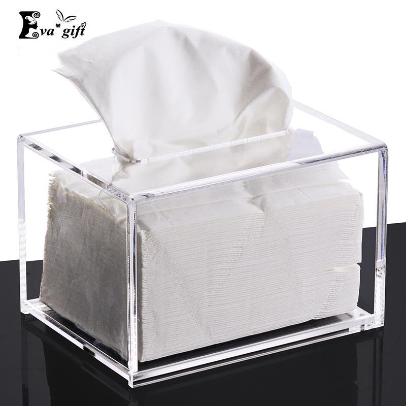 Einfache Acryl kleine Tissue Box Make-up Kristall Pump Karton Veranstalter Fall klar Serviette Karton Multifunktions Display Box q171126