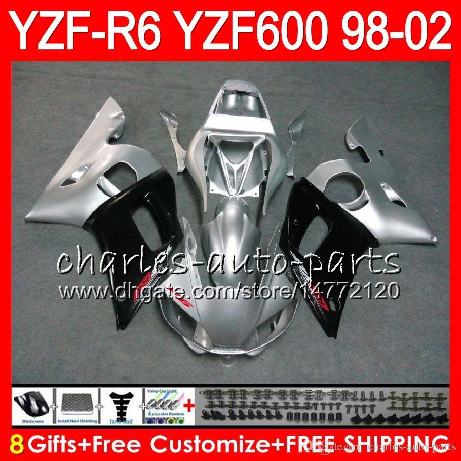 Bodys para YAMAHA plateado negro YZF600 YZF600 600cc YZFR6 YZF R6 R6 YZF 600 58HC.9 YZFR6 98 99 00 01 02 1998 1999 2000 2001 2002 carenado