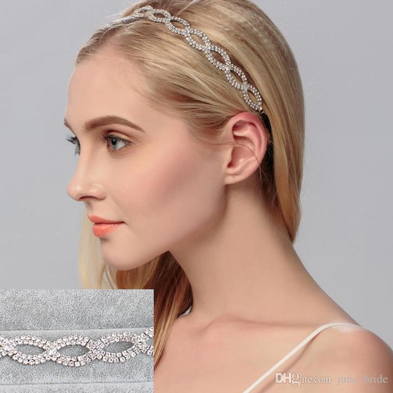 Fashion Rhinestone Crystal Bridal Hairband with Black Elastic Hair-binding Wedding Birthday Party Headpieces Formal or Causual Headband