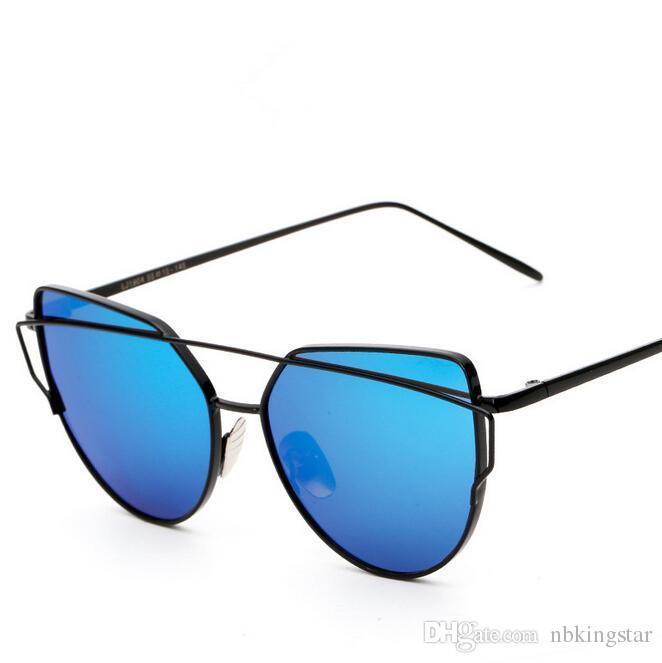 Art- und Weisefrauen-Katzenauge-Sonnenbrille-flacher Objektiv-Spiegel-Marken-Art-Metallrahmen übergroße reflektierende Sonnenbrille 12pcs / Lot Freies Verschiffen