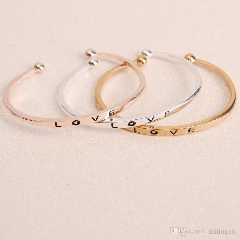 2017 New Women's Fashion 3 colors Opening Adjustable Love Bangle Bracelet lover gifts