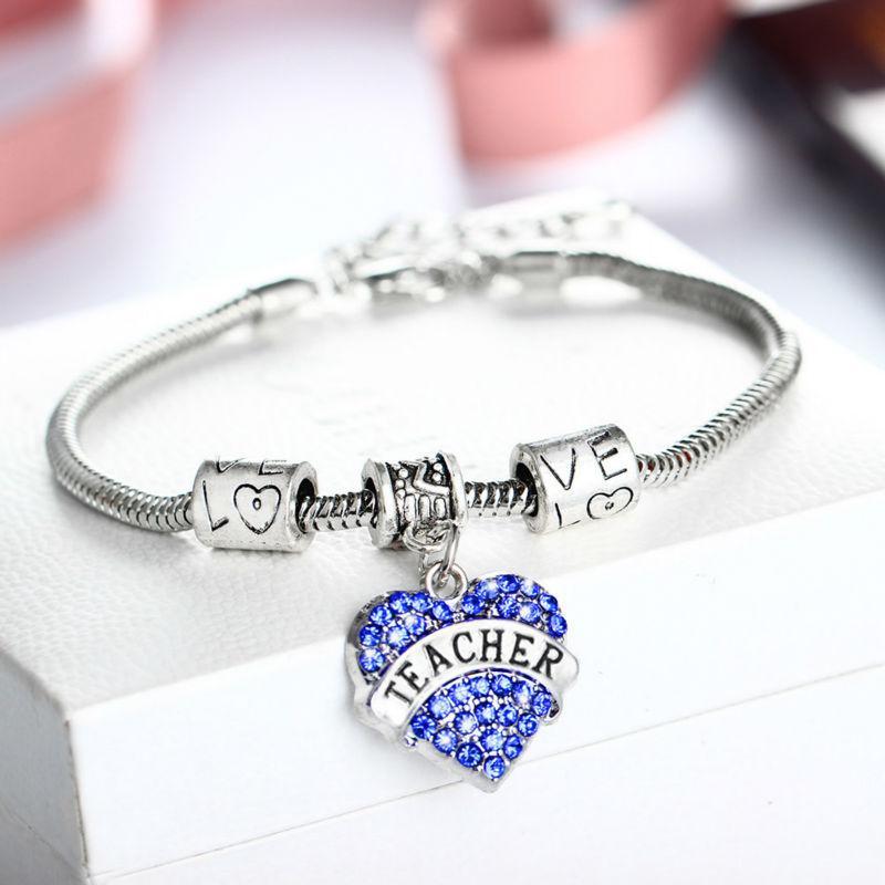 Commercio all'ingrosso- Vendita calda cuore blu cristallo insegnante regali braccialetti di fascino braccialetto braccialetto del braccialetto per insegnante souvenirs