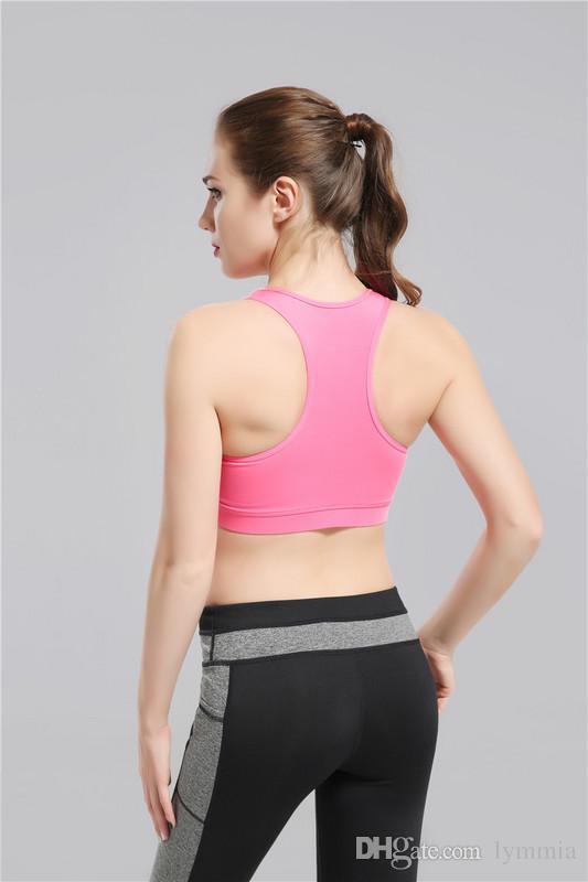 2017 Nuevo Arrivial Pink Yoga Bra Moda Ropa Deportiva de Secado rápido Mujeres Tops gimnasio yoga sujetador deportivo Gimnasio Ropa Envío de La Gota gratis lymmia
