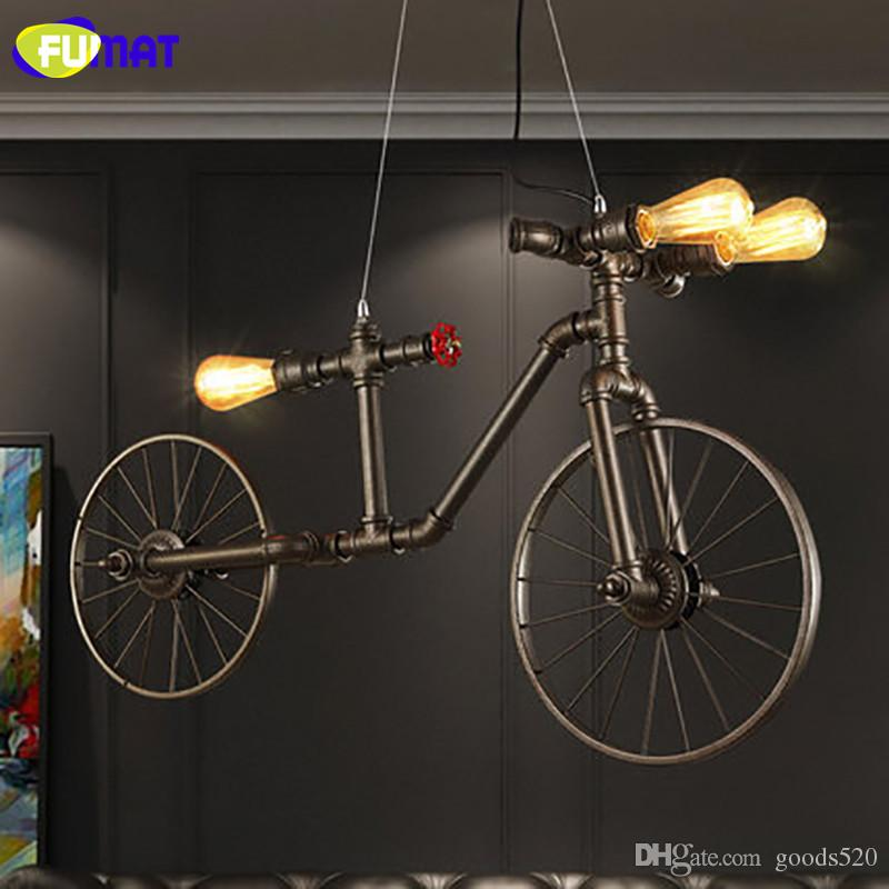 FUMAT Nordic Loft Water Pipe Light Iron Retro Pendant Light For Restaurant Bicycle Lampara Cafe Bar Vintage Industral Lamps