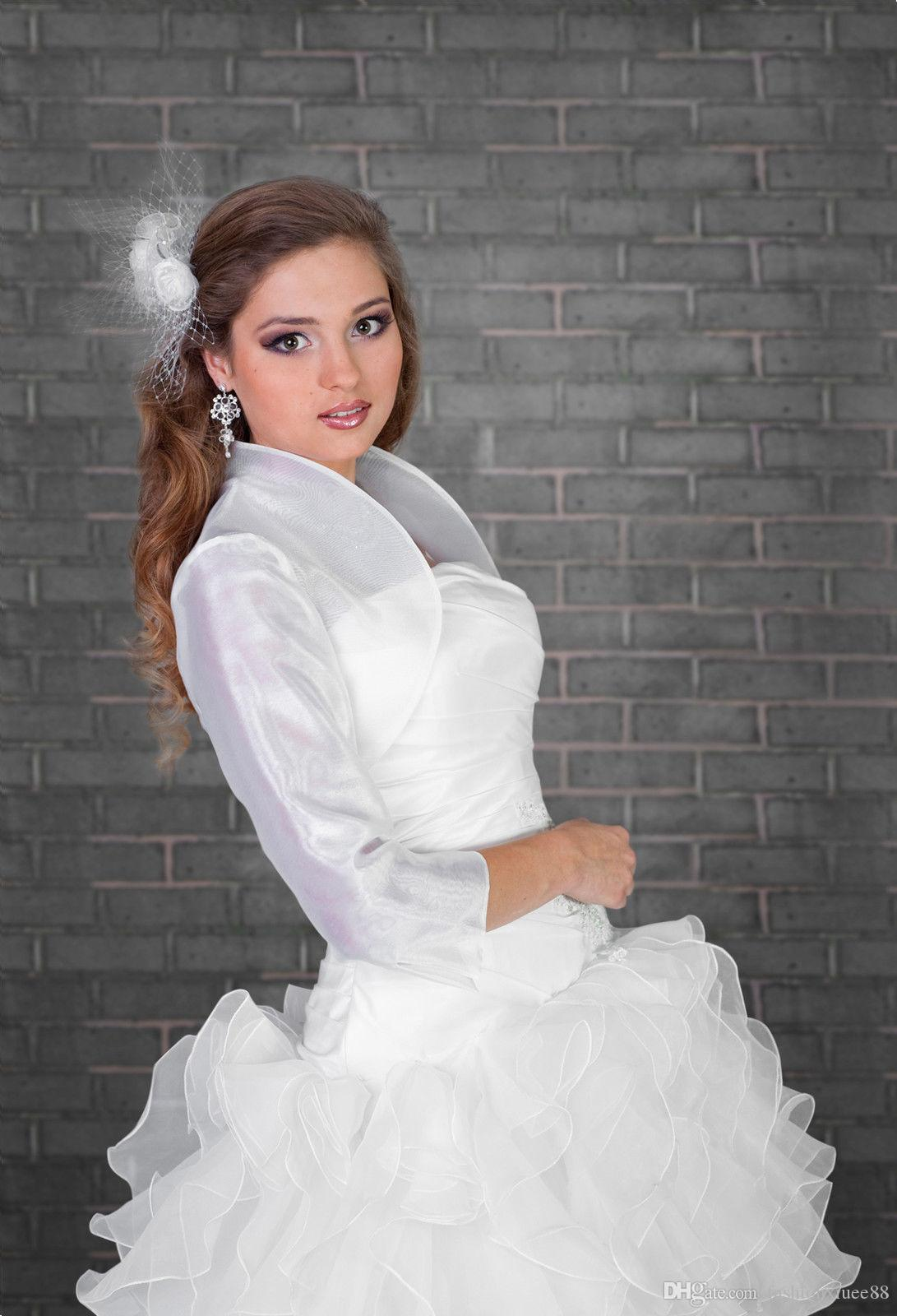 2018 Summer Wedding Cape Wedding Bridal Ivory White Organza Bolero ...