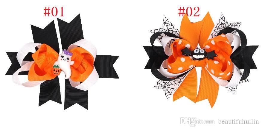 12 Pcs Halloween Hair Bow With Clips For Kids Hair Pumpkin Hair Bow Halloween