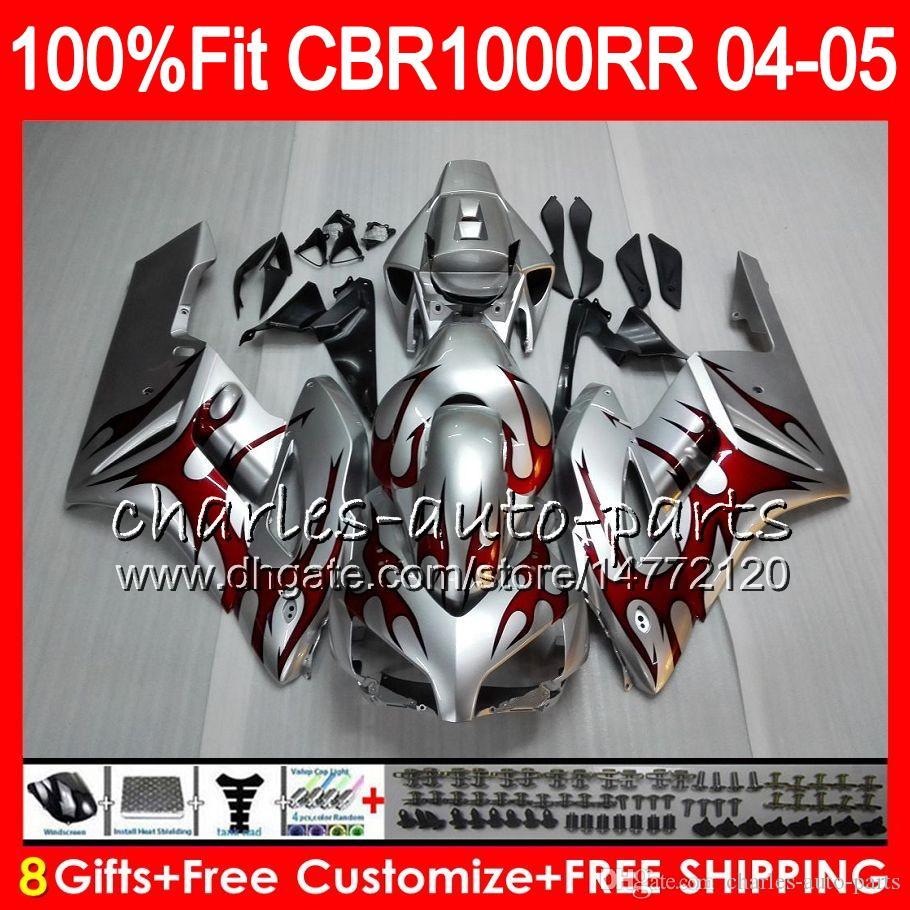 Injectie Lichaam voor Honda CBR 1000RR 04 05 Carrosserie Rode Vlammen CBR 1000 RR 79HM8 CBR1000RR 04 05 CBR1000 RR 2004 2005 FUNING KIT 100% FIT