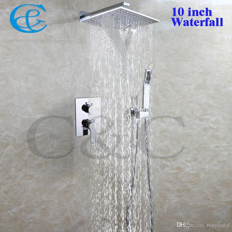 Badrum vattenfall dusch kran set 10 tums mässing krom regndusch huvuden med inbäddad låda dusch mixer ventil 002v-ws25x25-2g