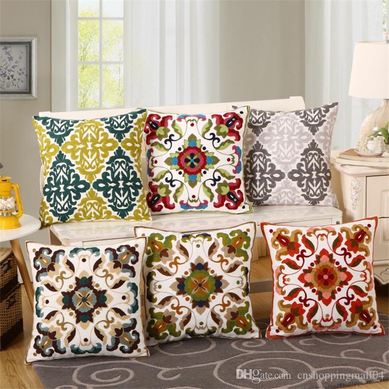 Cojín de lujo caliente ventas de la cubierta Funda de almohada Textiles para el Hogar suministra lumbar de la almohadilla de color incienso asiento de silla de almohadas Nacional del bordado
