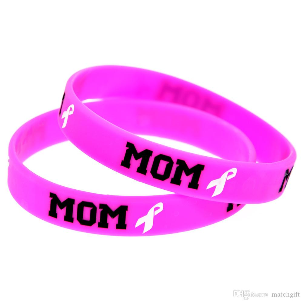 100PCS Debossed Mom & Ribbon Silicone Rubber Bracelet Pink Adult Size A Great Way To Show Your Support