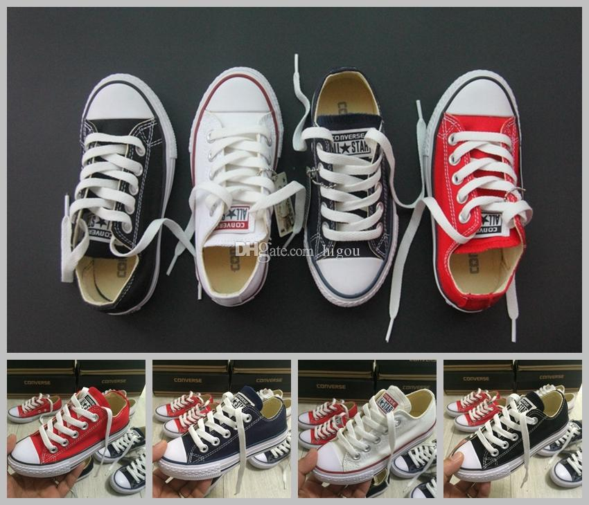 2017 Kids Converse Chuck TayLor All Star Core Casual Shoes Low Cut Boys Girls Classic Black White Red Canvas Shoes Sneakers 28 35 Nude Shoes