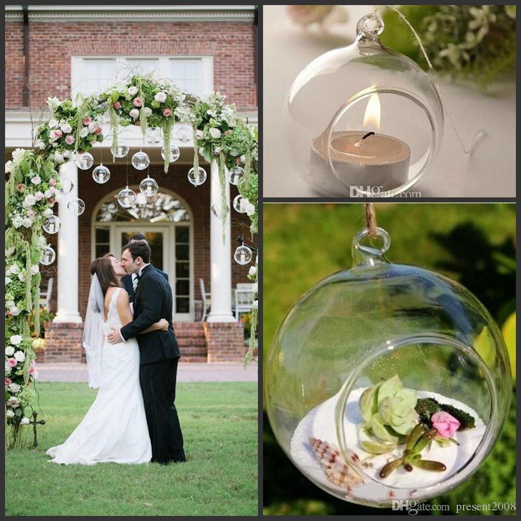 Hanging Holder Type candela sferica di vetro per matrimonio decorazione fornire domestico Candela elettronico opzionale Glass Candlestick