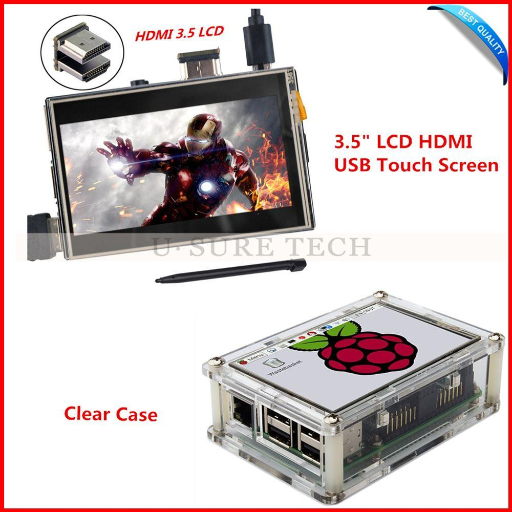 Freeshipping 3.5 inch Raspberry Pi LCD H-DM-I USB TFT Touch Screen 480*320-1920*1080 LCD Display Audio with ClearCase for Raspberry Pi3 Pi 2