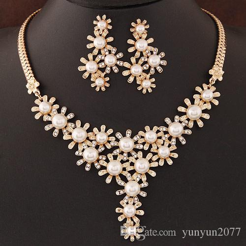 Gifts Summer Fashion Party Jewelry Sets Pearls Rhinestones Flowers Tassel Statement Collar Chokers Necklaces Drop Dangle Earrings For Women