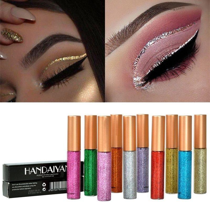 10 colores delineador de ojos brillante intermitente de secado rápido brillo impermeable sombra de ojos líquido delineador de ojos maquillaje de belleza