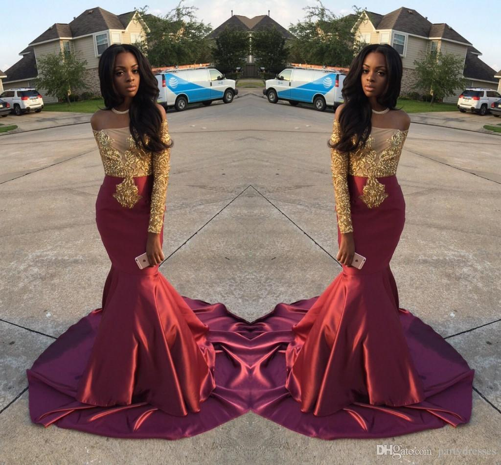 Charming African Style Off Shoulder Burgundy Prom Dresses 2017 Gold ...