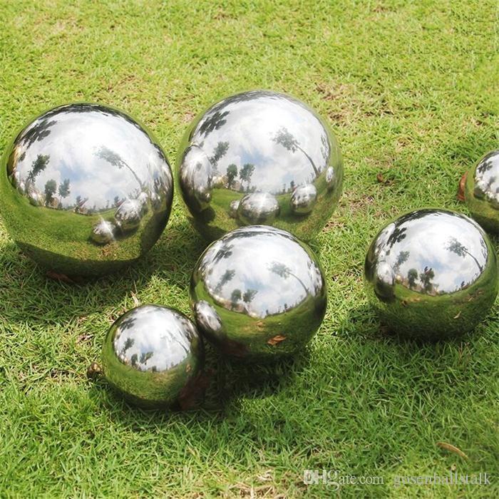 90 milímetros-250 milímetros AISI 304 inoxidável bola oca de aço polido espelho Reluzente Para Outdoor Jardim Lawn Piscina ornamento Cerca e Decoração
