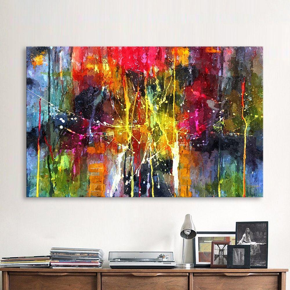 Großhandel QKART Abstrakte Malerei Bunte Leinwand Wandbilder Für Wohnzimmer  Büro Schlafzimmer Moderne Leinwand Ölgemälde Kein Gestaltet Von Bad784533,  ...