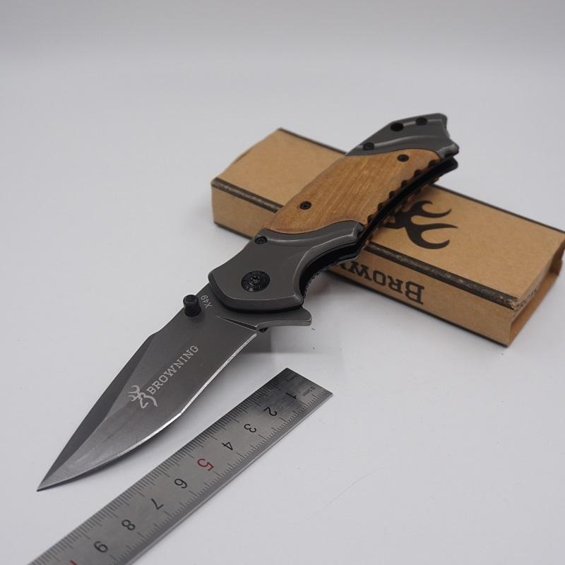 2017 New! Browning Knife X49 Tactical Survival Folding Blade Hardened 440C 57HRC Pocket Hunting Knives Surface Grey Titanium Free shipping