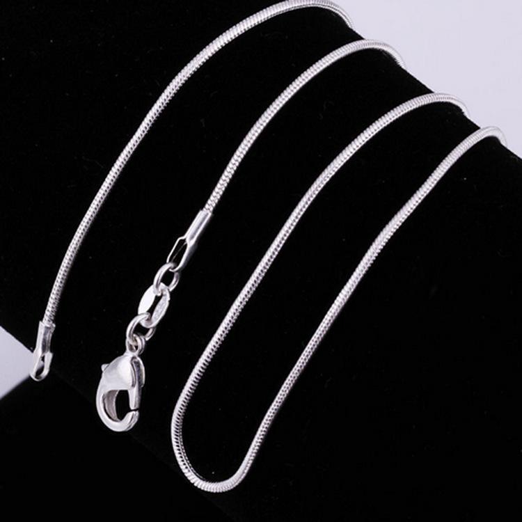 925 prata esterlina suave cadeias de cobras colares para mulheres moda jóias fecho lagosta 1mm corrente tamanho 16-30 polegadas