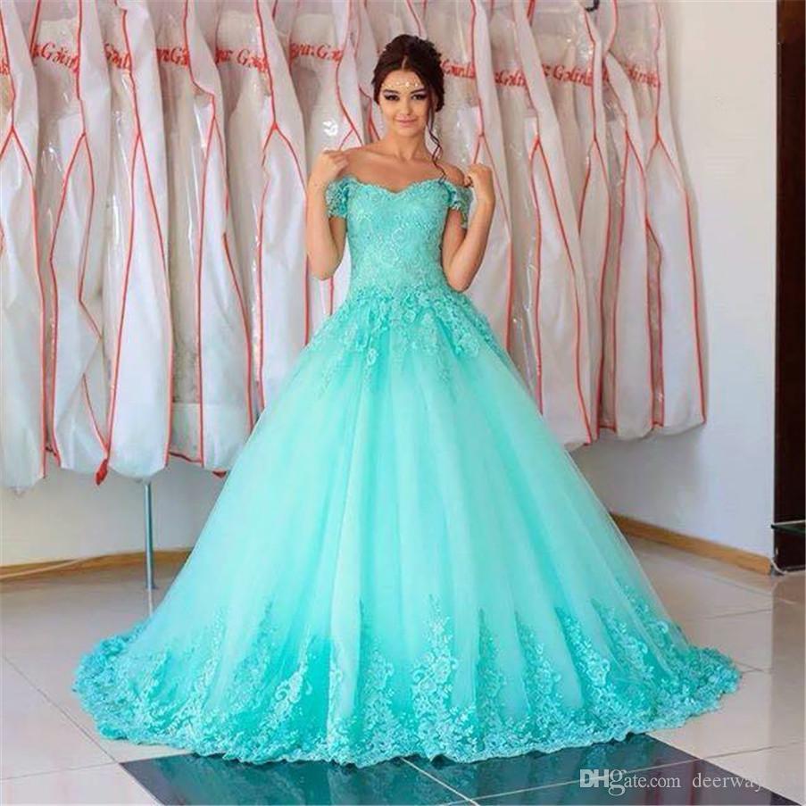Sweetheart formal turquese fuera del hombro Largo Quinceañera Vestidos 2019 Bola vestido de longitud de piso Vestidos de 15 ANOS 16 Vestidos