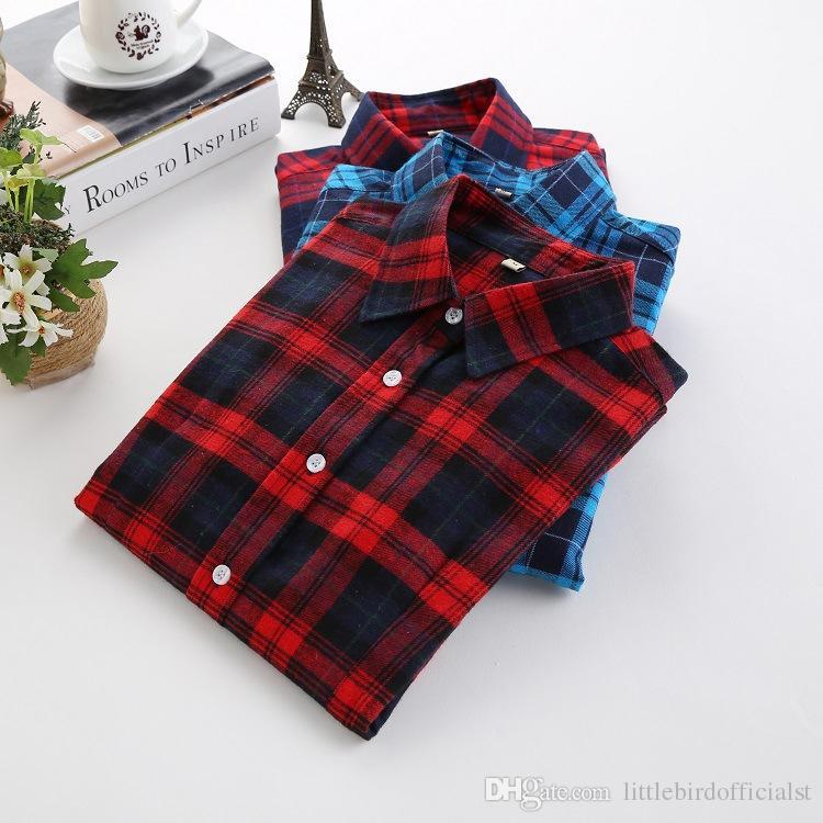 Sonbahar Kış 2019 Bayanlar Kadın Rahat Pamuk Yaka Uzun Kollu Ekose Gömlek Kadın Ince Giyim Bluz Giyim Tops