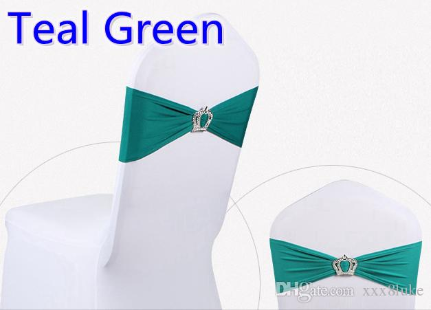 Teal colour Crown buckle lycra sash for wedding chairs decoration spandex band stretch bow tie lycra ribbon belt on sale