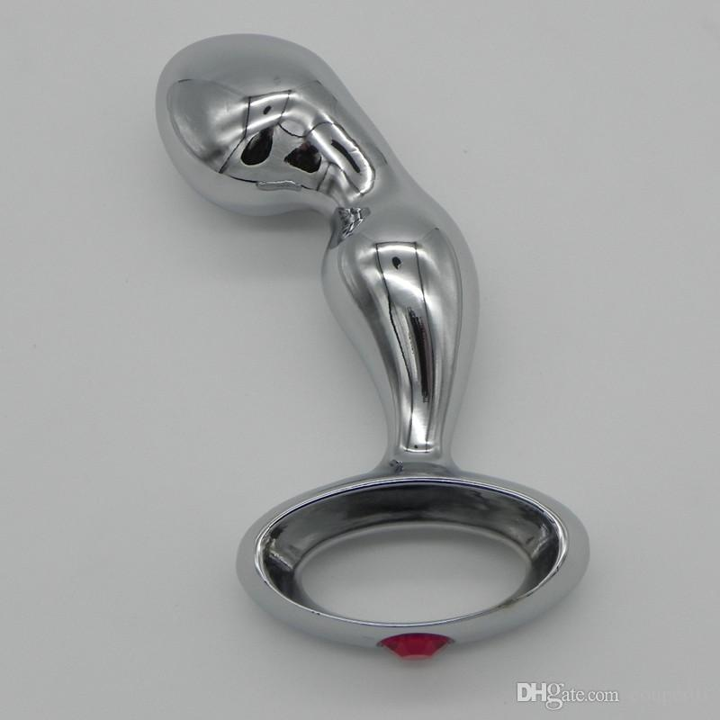 Top Quality cromado liga de zinco Anal gancho com furo anel de metal Anal Butt Plug Sex Toys Adulto produtos FFL01