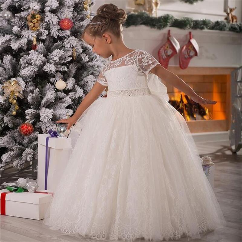 Manches courtes nouvelles robes de fille de fleur robe de romande de balle robe de communion de fête pour mariage petites filles enfants / enfants robe