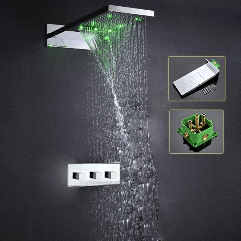 Rainfall waterfall Hydro Power Color Change Contemporary LED Shoer Head with shower mixer faucet set 161222#