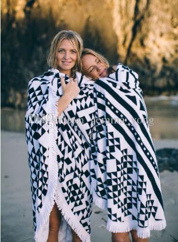 Toalha de praia impressão geométrica com borla rodada toalha de banho de natação preto branco tapeçaria cigana tapeçaria lance toalha tapete de piquenique