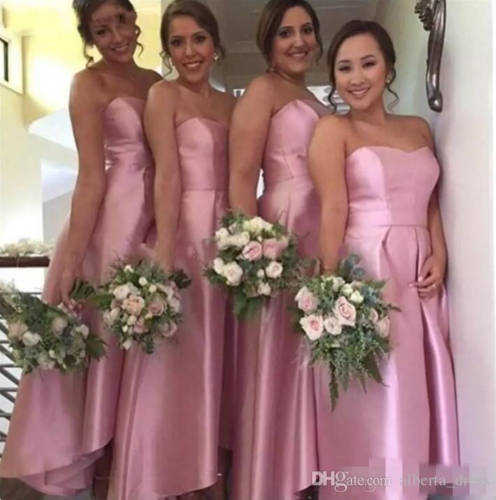 Tee Länge Rosa Brautjungfer Kleider 2020 a linie Satin trägerlos Günstiger Eleganter Haustiergüter Gowns Gown Guest Guest Wear für Party