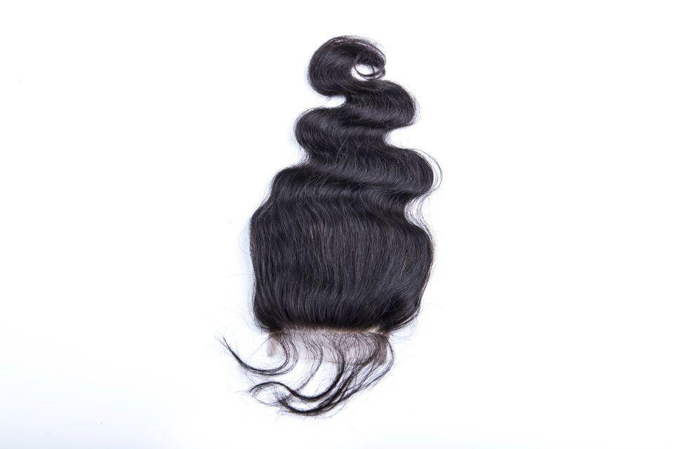 Wholesale Free Shipping Top Grade Malysian Human Hair Body Wave Middle Part Lace Closure 4*4 inch Swiss Lace Top Hair Piece