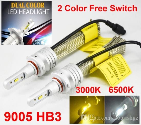1 세트 9005 HB3 60W 8000LM S5 LED 헤드 라이트 키트 LUMI ZES 칩 듀얼 컬러 3000K 골든 옐로우 + 6500K 화이트 프리 스위치 팬 없음 변경 가능 불