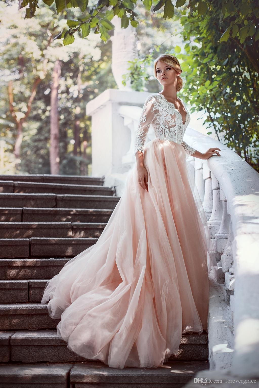 Discount Romantic 2017 Lace Pink Wedding Dress High Quality Deep V Neck  Tulle Bridal Gown Custom Made Plus Size Wedding Dresses Shop Online Wedding  ...