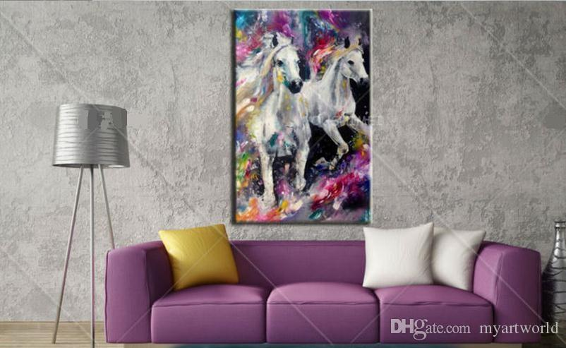 Colorful Abstract two white horses,Pure Hand Painted Modern Wall Decor Abstract Animal Art Oil Painting On Canvas.customized size al-Dafe
