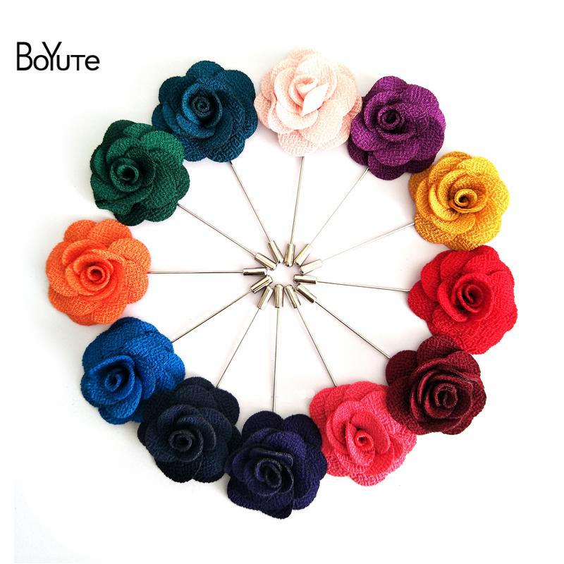 BoYuTe 20Pcs 22 Colors Handmade Lapel Camellia Flower Pin Women Men Brooch Pin Wedding Boutonniere Fashion Jewelry