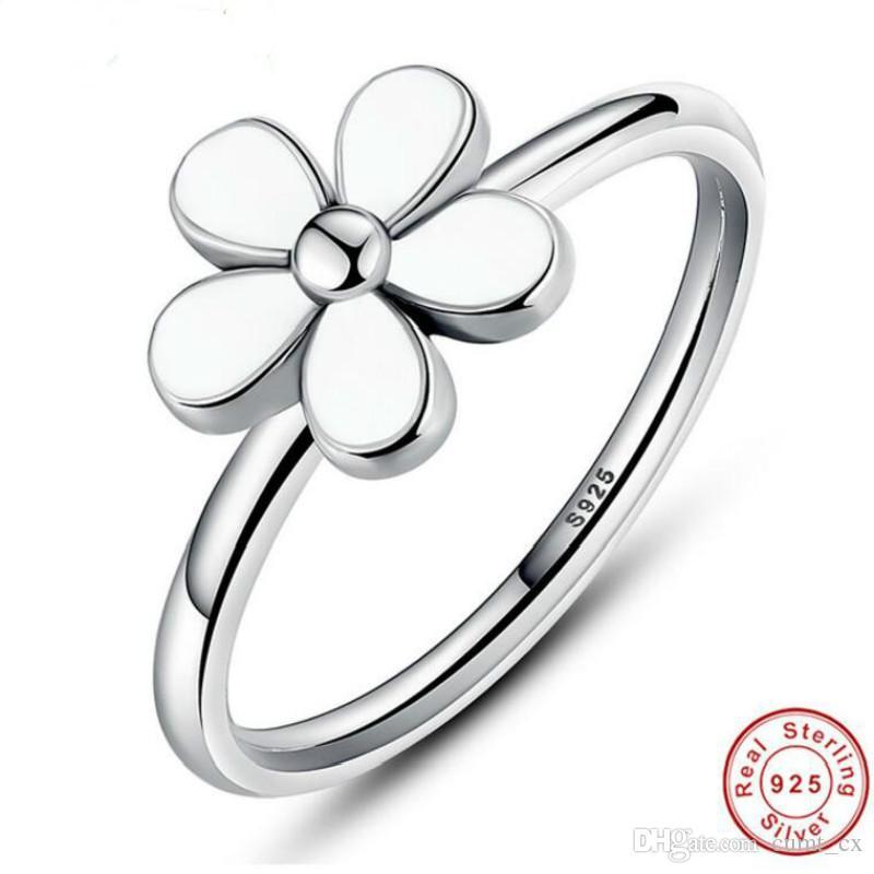 Marca Flor 925 Sterling Silver Querida MARGARIDA Empilhável ANEL Esmalte Branco COM BRANCO ESMALA Jóias Autênticas