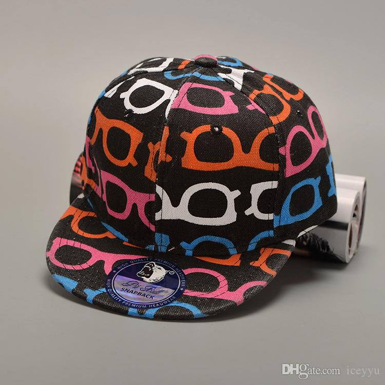 2017 children new fashion print baseball cap glass or star snapback hat kids hip hop cat