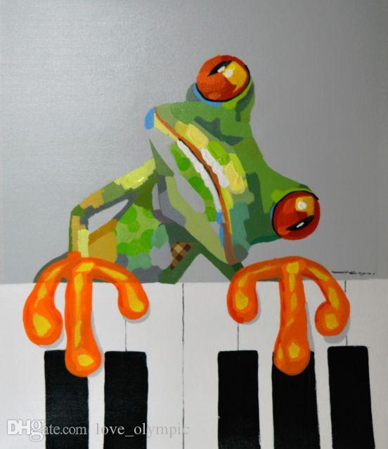 """Framed, Lots Wholesale ,R396# Handpainted Modern Abstract Art Oil Painting"""" FROG PLAY PIANO ANIMALS """" Canvas Home Wall Decor Multiple size"""