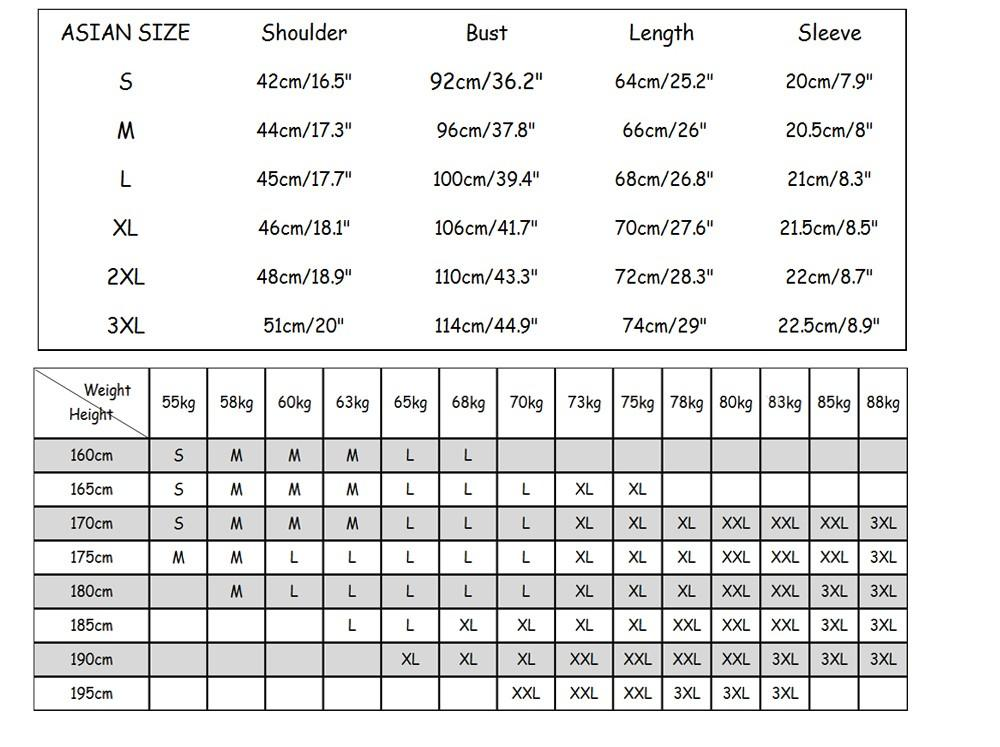 men size chart and height weight