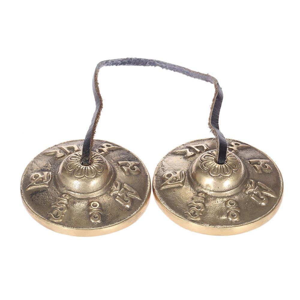 عالية الجودة 2.6in / 6.5 سنتيمتر يدويا التبتية tingsha الصنج الجرس مع الرموز البوذية محظوظ
