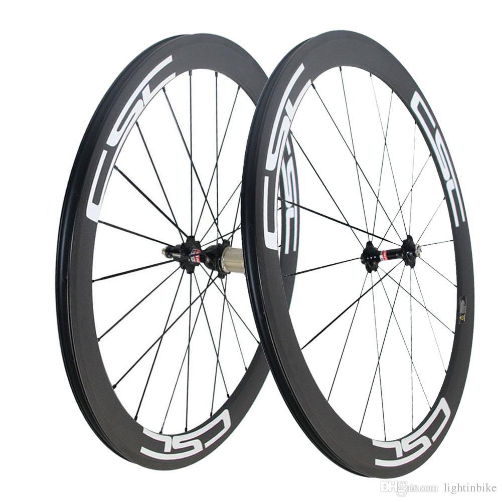 CSC Carbon Road Bike wheels 50mm Clincher wheelset Novatec hub with CN spokes Basalt Brake Surface Carbon road bicycle bike wheels
